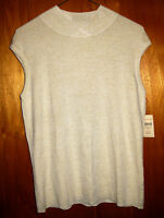 Coldwater Creek Lurex Crossover Shell Knit Tank Size L (14-16) Gold Tan $45 NWT