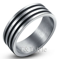 Unique T&T Three Line Stainless Steel Ring Size 9 New
