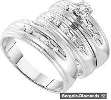 diamond .21 carat 3-ring 10K white gold wedding band set matching groom bridal