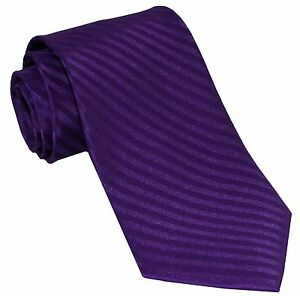 New Polyester Woven Men's Neck Tie necktie Only Wedding Stripes Purple Wedding