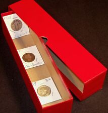 "Red Storage Box 9.25"" long Single Row for 2 X 2 Mylar Coin Holders/Vinyl Flips"
