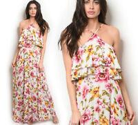 Women's White Tropical Floral Long Maxi Dress Flowy Halter Neck Sleeveless Boho