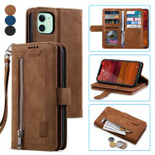 Case For iPhone 11 XR 7 8 SE Zip Coin Purse Card Flip Leather Wallet Phone Cover