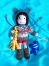 Knitted Waldorf Doll Boy with Giraffe and Fish Toy, 3 sets of clothing - new