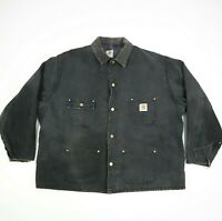 Vtg Carhartt Blanket Lined Chore Jacket Faded Black Distressed Workwear 2XL/3XL?