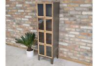 Tall Industrial Metal Display Cabinet 2 Doors 4 Compartments Storage Organiser