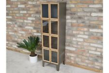 Tall Industrial Metal Display Cabinet 2 Doors 4 Compartments Storage Organiser