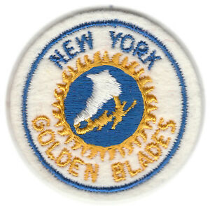 """1973-74 NEW YORK GOLDEN BLADES WHA HOCKEY VINTAGE 2"""" ROUND DEFUNCT TEAM PATCH"""