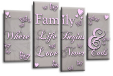 Family Love Quote Art Picture Powder Grey Pink Home Canvas Wall Print 112cm