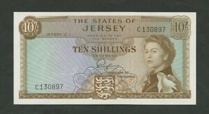 JERSEY  QEII  10 sh  1963  series C  P7  Uncirculated  Banknotes