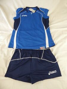 LADIES ASICS OLYMPIC STYLE ROYAL NAVY TOP & SHORTS - SIZE XXL - NEW WITH TAGS