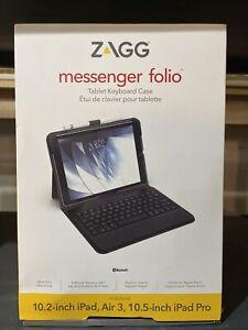 "NEW! Zagg Messenger Folio Tablet Keyboard Case Apple iPad 10.2"" Air 3 iPad Pro"