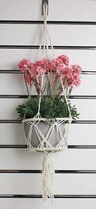 Macrame 2 Ring Plant Hanger Hanging Flower Pot Basket Holder Rope Wall Garden