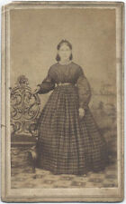 CDV, CIVIL WAR ERA LADY WITH ORNATE CHAIR, FULL GOWN.