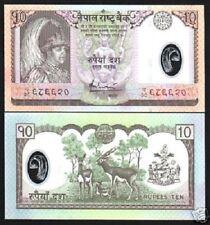 NEPAL 10 RUPEES P54 2005 *REPLACEMENT* CH38 POLYMER UNC DEER COW BIRD MONEY NOTE