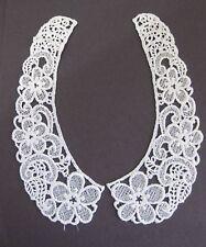 """Magnificent Venise Lace Applique Rayon 9""""  Floral White Collar Bridal 2 pc 1735"""