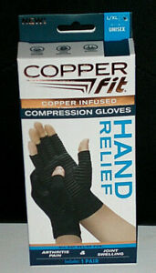 Copper Fit Hand Relief Compression Gloves, New size L/XL