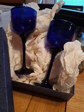 More details for bristol blue glass set of 2 boxed goblets