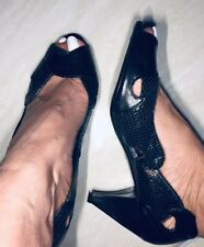 Office Black Leather Peeptoe Shoes / Size 39