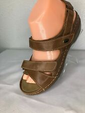 Spring Step Radiance Womens EUR39  Tan Leather Ankle Strap Wedge Sandals 9X713