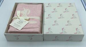 JELLYCAT Bashful Unicorn Pink & White 100% Cotton Baby Blanket 30'x40' Boxed