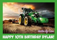 JOHN DEERE TRACTOR FARM A4 EDIBLE IMAGE CAKE TOPPER BIRTHDAY PARTY KIDS