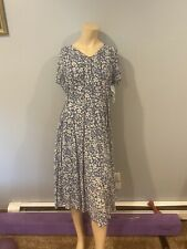 Pristine! Coldwater Creek Mesh Knit Seamed Floral Blue Dress