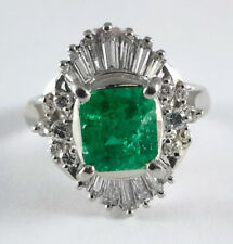 1.23ct Fine EMERALD PLATINUM Ring - R9653