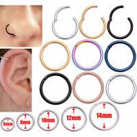 Septum Clicker Nose Ear Tragus Hinged Segment Ring Titanium Colour 1.2mm 1.6mm