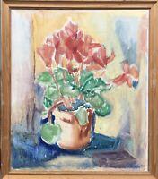 Ölgemälde expressives Stillleben mit Blumen signiert 42 x 36 cm