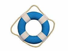 "Nautical Vibrant Decorative Life Ring with White Bands Decoration 6"" Light Blue"