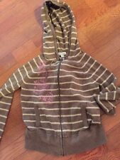 Aeropostale Hoodie Jr Sz M Brown Striped Zip Up Jacket Hoody