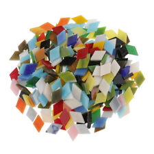 300pcs Multicolor Glass Mosaic Tiles for DIY Crafts 12mm Rhombus