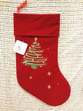 "Velour Christmas Stocking Holiday Christmas Tree 10"" x 18"" RED ~ NEW with TAG"