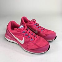 Nike Dual Fusion Run 3 Womens Sze 8 Pink White Running Athletic Shoes 653594-600