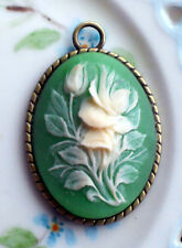 #1492V Vintage Pendant Floral Rose Art Deco Nouveau Artsy Victorian NOS Rose