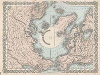 GEOGRAPHY MAP ILLUSTRATED ANTIQUE COLTON NORTH POLE POSTER ART PRINT BB4296A