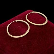 "Antique Vintage Art Deco Style 14k Yellow Gold 0.85"" Simple Hoop Dangle Earrings"