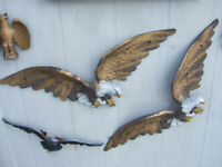 """VINTAGE ORIGINAL AMERICAN EAGLE WALL PLAGUE (PAIR) 29"""" WING SPAN X12"""" EXTREMELY"""