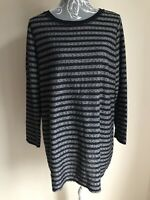 George Womens Tunic Top Size 20 Navy Blue Grey Striped Sequinned Long Sleeved