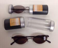 2 PAIRS PRIVATE EYES COMFORT FLEX SUN READER GLASSES W CASE 1.75 STRENGTH PE130