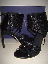 Stuart Weitzman Cajun Black Woven Leather Sandals US 6 High HEELS Shoes