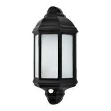 Black Aluminium Outdoor IP44 Wall Lantern Frosted Glass PIR Motion Sensor Light