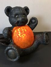 Bronze Amber Glass Cheyenne Teddy Bear Lamp Nursery Light