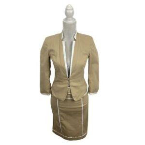 XOXO Tan Skirt Suit White Trim Pencil Skirt Blazer Jacket Ruched Sleeves M 7-8