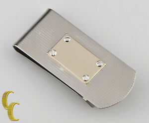 Sterling Silver Money Clip w/ 14k Yellow Gold Plaque
