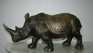Nashorn Groß Afrika Deko Zoo Safari Tier Figur Kunststein Gold Antik
