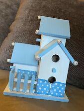 """hand painted wooden light blue bird house 8"""" (h) x 6"""" (l) x 6"""" (w)"""