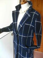 Ladies M&S COLLECTION WOOL mix COAT UK 10 blue blogger long line trench check