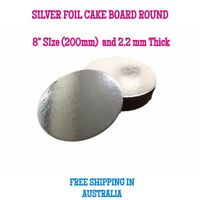 "8"" Inch Cardboard Cake Board Round Silver Thickness 2mm - Premium Board"